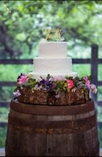 "16"" sanded and oiled wooden rustic log stand ideal for weddings and celebrations"