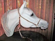 HANDMADE MACRAME` ARABIAN HORSE SHOW HALTER ~ BEIGE & BROWN, GLASS BEADS
