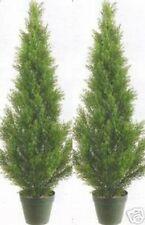 """2 Artificial 3' Cedar Topiary Tree Outdoor UV Plant 36"""" Patio Porch Cypress Pine"""