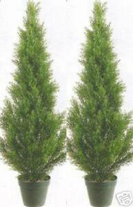 2 Artificial 3' Cedar Topiary Tree Indoor Outdoor UV Rated Cypress Pine In Pot 4