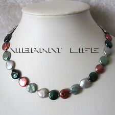 """18"""" 12-13mm Multi Color Coin Freshwater Pearl Necklace Jewelry UE"""