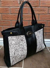 FOSSIL BLACK & WHITE CALFHAIR & LEATHER VRI WEEKENDER 3 BAG RETAIL £239