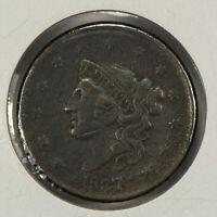 1837 1c Coronet Head Large Cent - Mid-Grade VF+ Details - SKU-Y2533