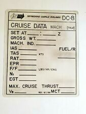 RARE VINTAGE SEABOARD WORLD AIRLINES SWA DC-8 CRUISE DATA CARD 1968 PLASTIC REUS