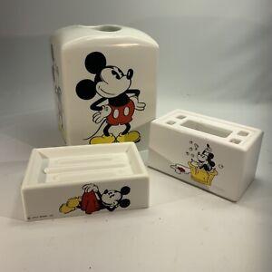 3 Pc Vintage Walt Disney Mickey Mouse Soap Dish Toothbrush Holder Tissue Box