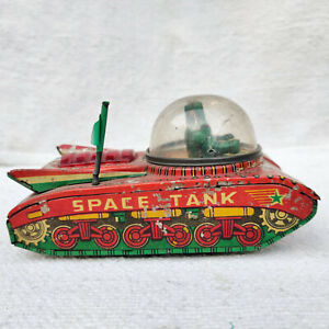 1960s Vintage VTI Astronauts Sparkling Friction Space Tank space Tin Toy Working