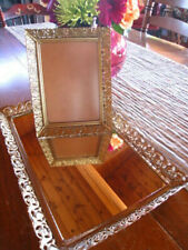 2 Pc Vintage Hollywood Regency Gold Tone Mirror Vanity Tray and Picture Frame