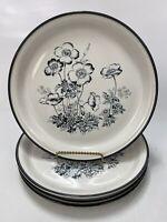 """Set of 4 Royal Prestige Blackwood Stoneware Dinner Plates, 10-3/4"""", Floral"""