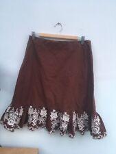 Designer Brown & Cream Embroidery Mermaid Fit & Flare Ruffle Hem Skirt UK 10