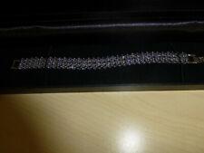 Sterling Silver Bracelet Genuine Blue Violet Tanzanite Three Row Design 7 Inch