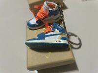 Off White UNC Retro Jrdn 1 Mini 3D sneaker keychain. 1/6 scale Pair with Box.