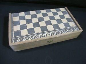 Ancien jeu en bois Backgammon / Jacquet + Damier