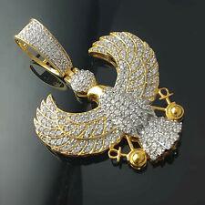 Ankh 925 Silver Pendant Yellow Gold Over Unisex 1.50 Ct Sim Diamond Flying Eagle