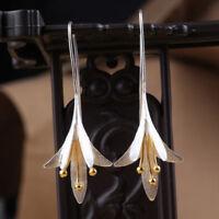 Women 925 Silver Plated Long Flower Earrings Handmade Drop Earrings Jewelry ~