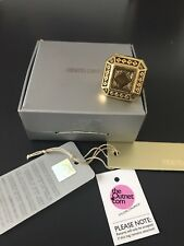Roberto Cavalli goldtone chunky ring ONE size USED unsigned in box outnet