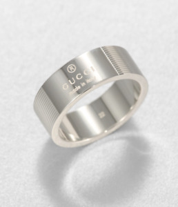 GUCCI Sterling Silver Trademark Ring Band New