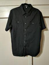 IBEX Wool Short Sleeve Pearl Snap Western Shirt Black Mens Large L