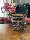 Vintage Wicker Baby Doll Carriage Buggy Stroller/ Home Decor Planter Old