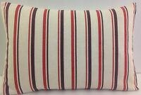 BRAND NEW SINGLE STRIPED OBLONG CUSHION COVERS BEIGE RED OATMEAL BROWN  STRIPES