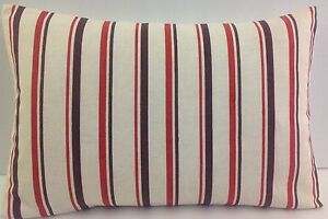 OBLONG CUSHION COVERS BRAND NEW SINGLE STRIPED BEIGE RED OATMEAL BROWN  STRIPES