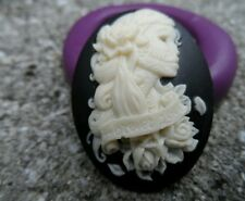 Gothic Skeleton Lady Cameo  Silicone push mold polymer clay resin SUGAR CRAFT
