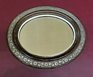 "Vintage 11x13"" Oval Framed Hanging Wall Mirror w/ Floral Accents"