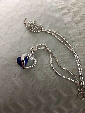 Sapphire Heart Pendant With Chain in 14K Gold Overlay Sterling Silver