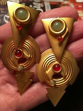 Vintage 1980s Gold Tone Geometric Earrings Pierced 3""