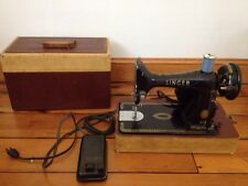 Vtg 1953 Singer 99K Portable Black Electric Sewing Machine w Pedal, Hard Case