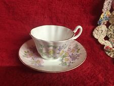 Royal Tara Irish Fine Bone China Cup & Saucer Galway Ireland Pink & Lilac Floral