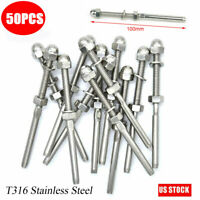 "50×T316 Stainless Steel Swage Threaded Tensioner End Fittings 1/8"" Cable Railing"