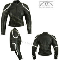 LADIES BLACK HORIZON WOMENS CE ARMOURS MOTORBIKE / MOTORCYCLE LEATHER JACKET