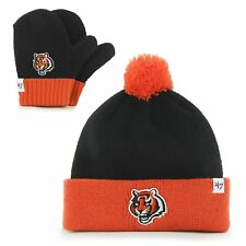 Cincinnati Bengals NFL Infant '47 Bam Bam Cuff Knit Pom Hat and Mittens Set