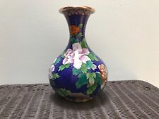"Antique Exceptional Chinese Cloisonné Butterfly / Floral 9"" Vase"