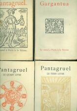 Rabelais Gargantua Pantagruel 4 vol  reprint 1542 avec typo et figures du temps