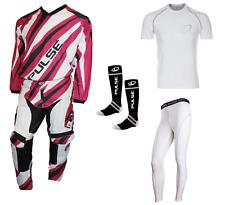 PULSE DIMENSION PURPLE MOTOCROSS MX ENDURO ATV BMX MTB KIT + BASE LAYERS & SOCKS