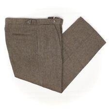 Polo Ralph Lauren Tweed Pants 34x29 Brown Green Herringbone Wool Side Tabs USA