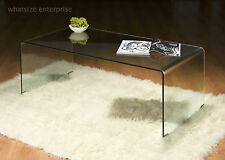CLEAR GLASS COFFEE TABLE CONTEMPORARY MODERN DESIGN