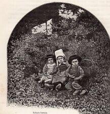 ENFANTS BRETONS IMAGE 1885 OLD PRINT