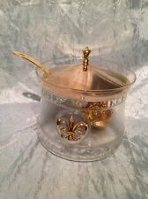 Fleur De Lis Punch Bowl Mid Century Hollywood Regency Glass And Brass