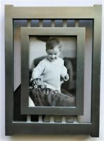Brushed Silver Metal 3.5x5 Picture Frame Sturdy Free Standing Industrial Look