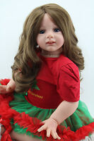 """24"""" Reborn Doll Realistic Girl Silicone Vinyl Lifelike Baby Toy Long Hair Gifts"""