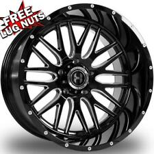 24 inch 24x12 Hardcore Offroad Hc19 Black Milled wheels rims 6x5.5 6x139.7 -44