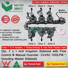 Qty. 7 x 1 inch(25mm) Irrigation Solenoid 24V AC 100 LPM-Flow Control & Override