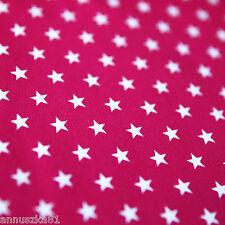 Jerseystoff 10mm STERNE Weiß auf Fuchsia Dunkel PINK Rose - Baumwolle Sternen