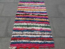 Old Hand Made Moroccan Boucherouite Cotton Fabric Colourful Rug 153x95cm