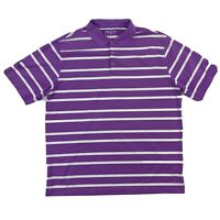 Nike Golf Dri-Fit Mens Size XL Purple White Striped Short Sleeve Polo Shirt