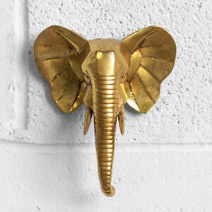 Elephant Head Bust Wall Mounted Ornament Home Decoration Figurine Sculpture Gift