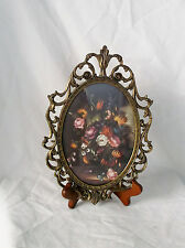 """Antique Collectible Brass Flower Wall Hanging Plaque Made in Italy-10.5 X 6.5"""""""