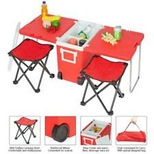 Folding Incubator Outdoor Camping Picnic Rolling Cooler Picnic Table+Stools RED